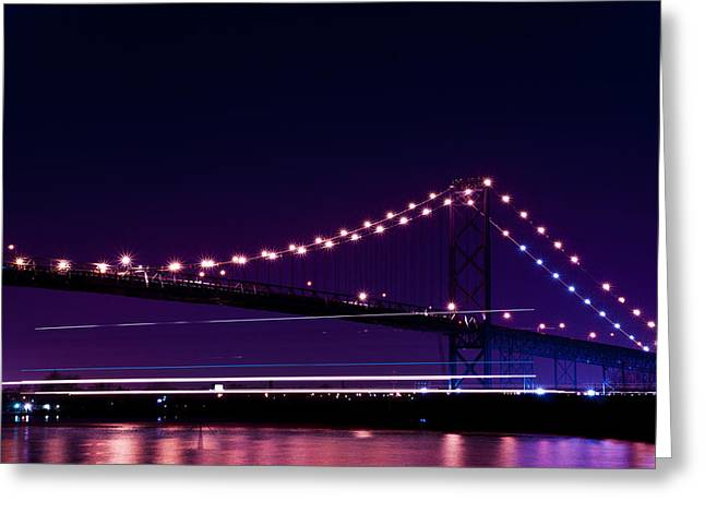 Detroit River Greeting Cards - Ambassador Bridge Greeting Card by Cale Best