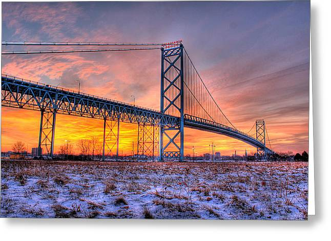 Detroit Pistons Digital Greeting Cards - Ambassador Bridge Sunrise 1-16-2012  Detroit MI Greeting Card by Nicholas  Grunas