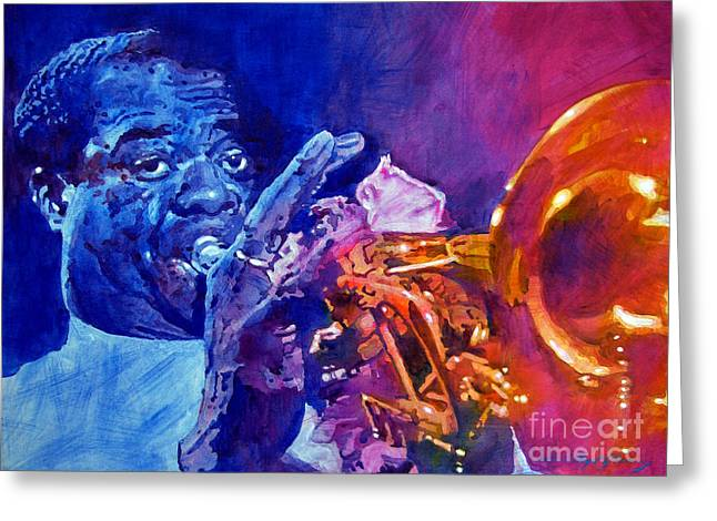 Featured Greeting Cards - Ambassador Of Jazz - Louis Armstrong Greeting Card by David Lloyd Glover