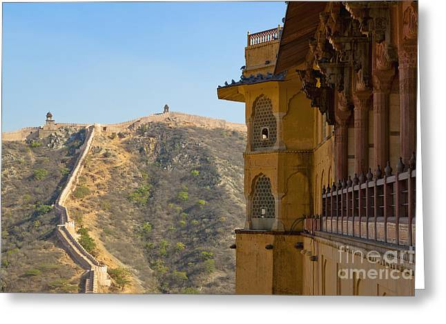 Amber Fort And Wall Greeting Card by Inti St. Clair