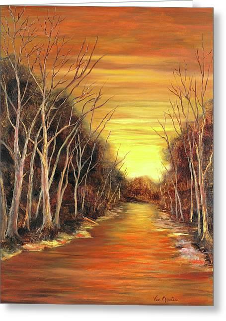 Amber River Greeting Card by Vic  Mastis
