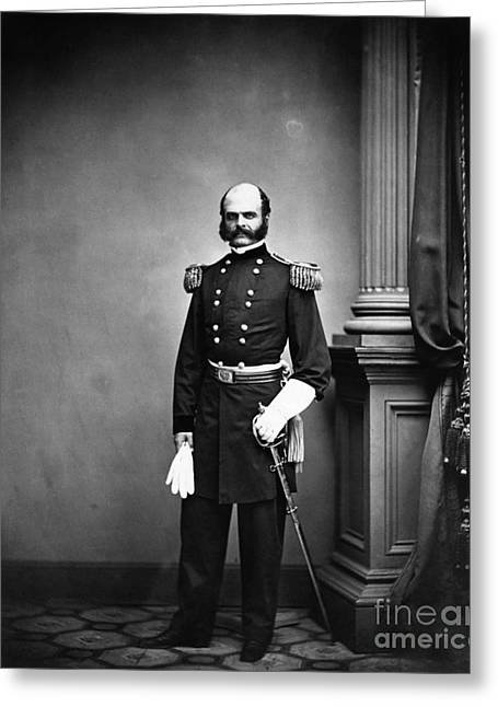 Federal Troops Greeting Cards - Ambrose Burnside, Union General Greeting Card by LOC/Photo Researchers
