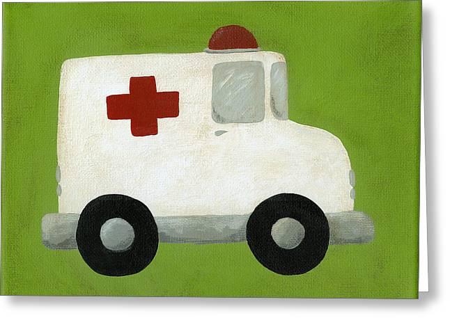 Ambulance Greeting Cards - Ambulance Nursery Art Greeting Card by Katie Carlsruh