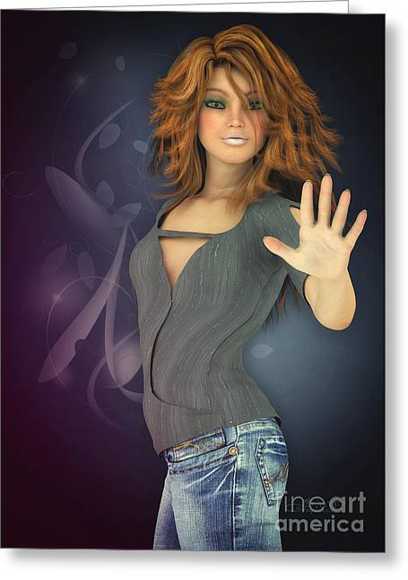 Jutta Maria Pusl Greeting Cards - Amelie in Jeans Greeting Card by Jutta Maria Pusl