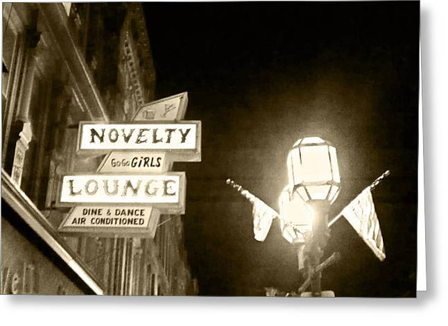 Streetlight Greeting Cards - America Drinks And Goes Home Greeting Card by James Seymour