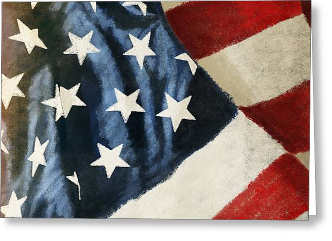 Border Photographs Greeting Cards - America flag Greeting Card by Setsiri Silapasuwanchai