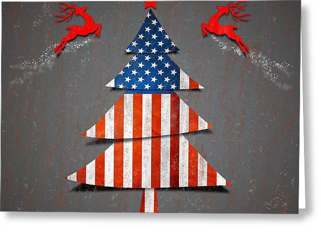 Chic Digital Greeting Cards - America Xmas Tree Greeting Card by Atiketta Sangasaeng