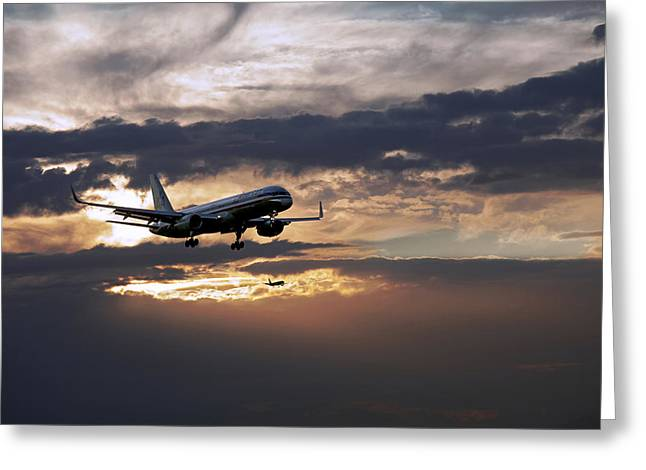 Airplane Landing Greeting Cards - American aircraft landing at the twilight. Miami. FL. USA Greeting Card by Juan Carlos Ferro Duque