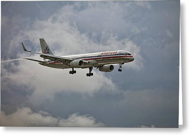 Aa Greeting Cards - American aircraft landing in the rain. Miami. FL. USA Greeting Card by Juan Carlos Ferro Duque