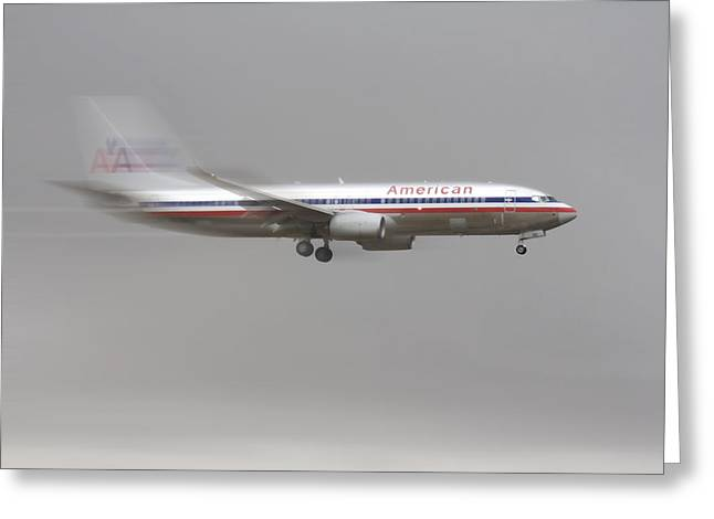 American Airlines Greeting Cards - American Airlines Boeing 7 Series Landing at DFW Airport Greeting Card by Douglas Barnard