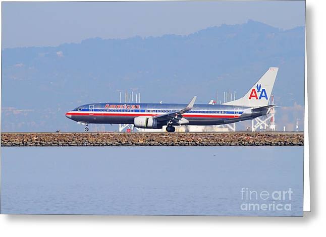 American Airlines Greeting Cards - American Airlines Jet Airplane At San Francisco International Airport SFO . 7D11837 Greeting Card by Wingsdomain Art and Photography