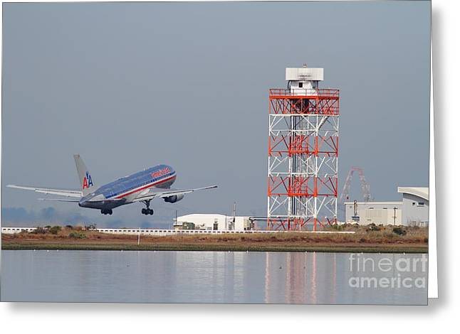 American Airways Greeting Cards - American Airlines Jet Airplane At San Francisco International Airport SFO . 7D12073 Greeting Card by Wingsdomain Art and Photography