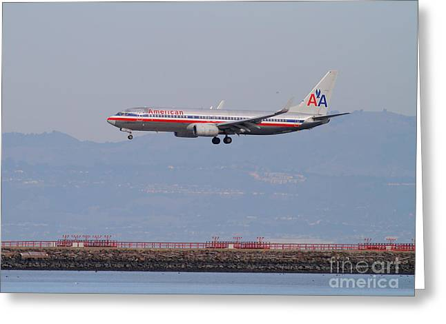 Airplane Landing Greeting Cards - American Airlines Jet Airplane At San Francisco International Airport SFO . 7D12212 Greeting Card by Wingsdomain Art and Photography