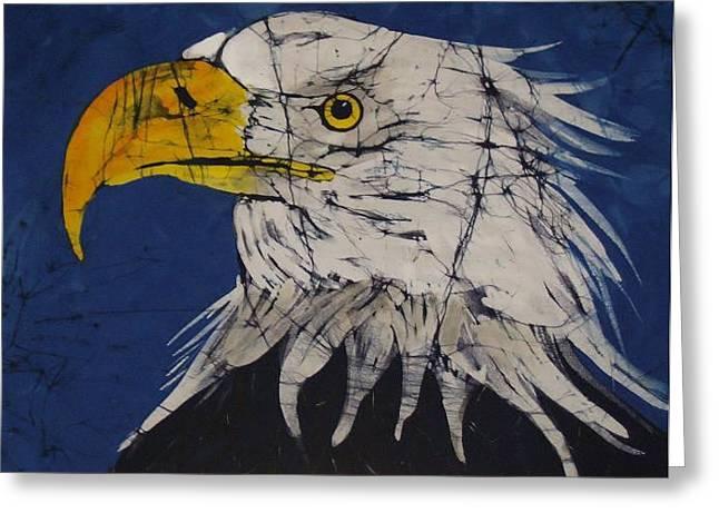 Fine Art Tapestries - Textiles Greeting Cards - American Bald Eagle Fine Art Batik Greeting Card by Kay Shaffer