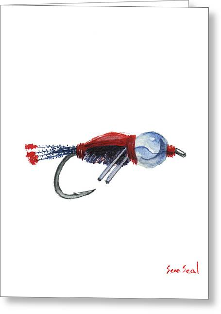 Independence Day Paintings Greeting Cards - American Bead Head Greeting Card by Sean Seal