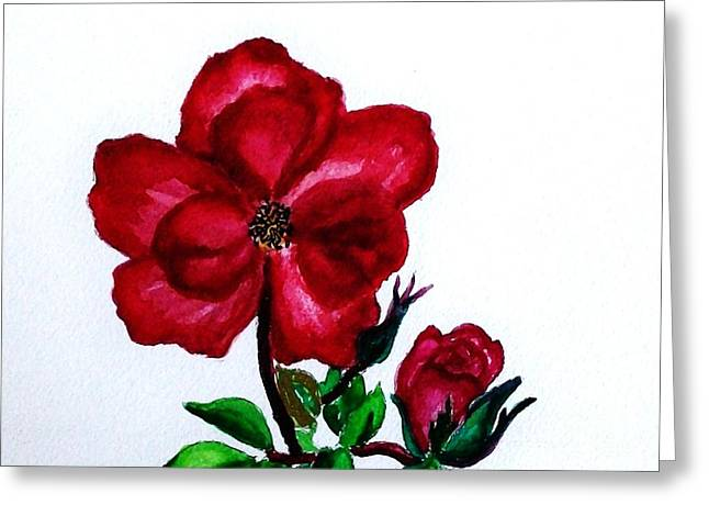 Close Up Paintings Greeting Cards - American Beauty Rose ll Greeting Card by Marsha Heiken