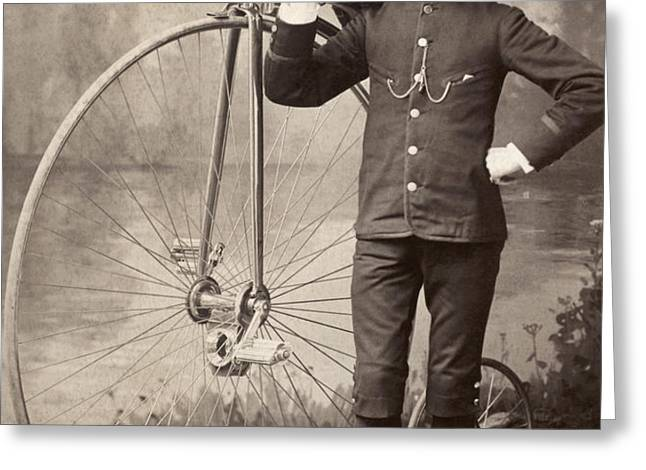 AMERICAN BICYCLIST, 1880s Greeting Card by Granger