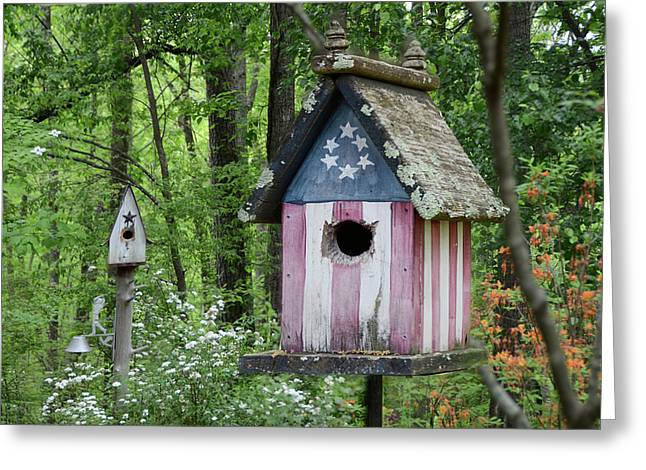Birdhouses Greeting Cards - American Birdhouse Greeting Card by Steven  Michael