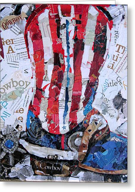American Cowboy Artist Greeting Cards - American Boot Greeting Card by Suzy Pal Powell