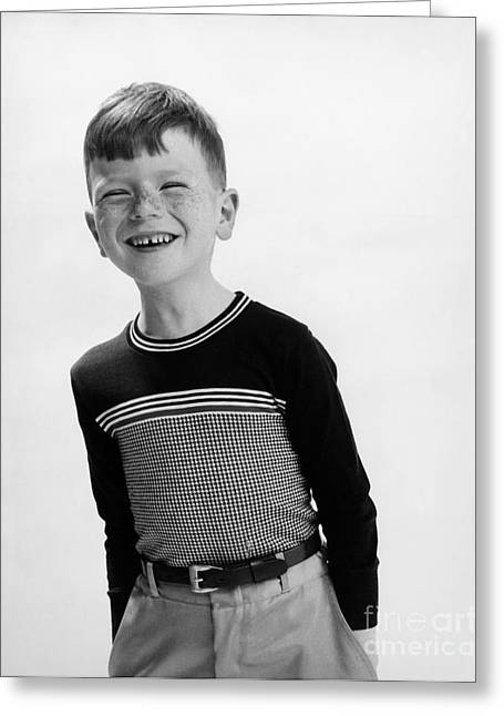 Nineteen Greeting Cards - American Boy Greeting Card by Hans Namuth and Photo Researchers