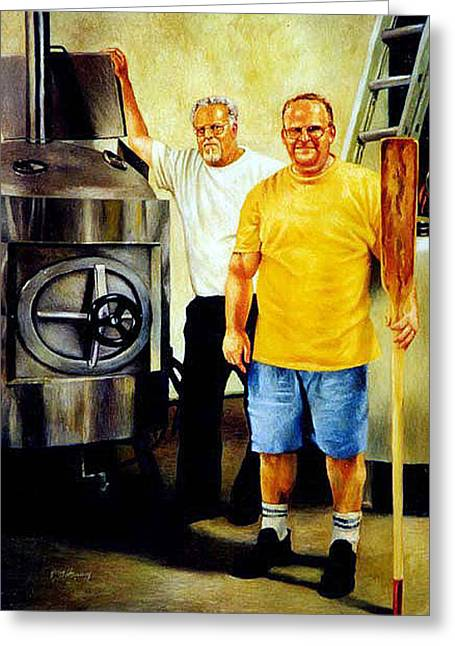Sweat Paintings Greeting Cards - American Brewer Gothic Greeting Card by Gregg Hinlicky