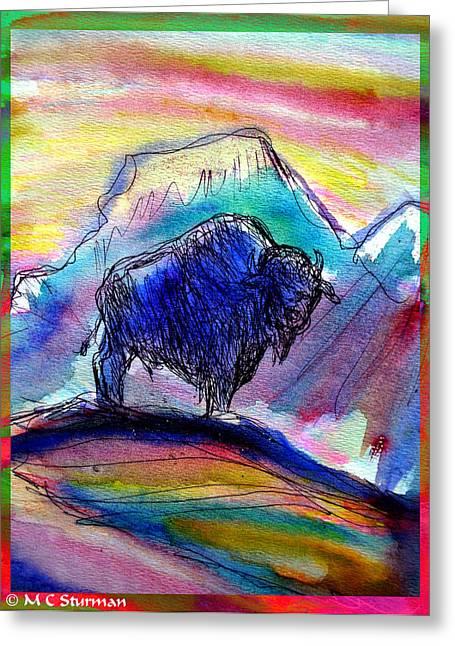 American Cowboy Artist Greeting Cards - American Buffalo Sunset Greeting Card by M C Sturman