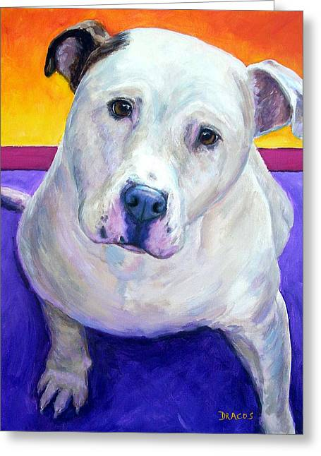 Bully Paintings Greeting Cards - American Bulldog Looking Up Greeting Card by Dottie Dracos