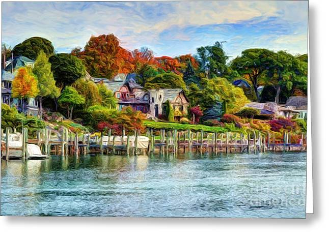 Docked Boats Digital Greeting Cards - American Castle Greeting Card by Michael Garyet