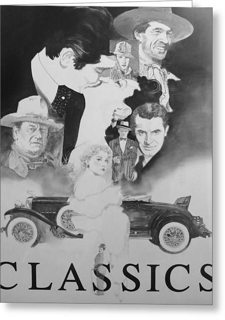 Classic Hollywood Mixed Media Greeting Cards - American Cinema Classics Greeting Card by Chuck Hamrick