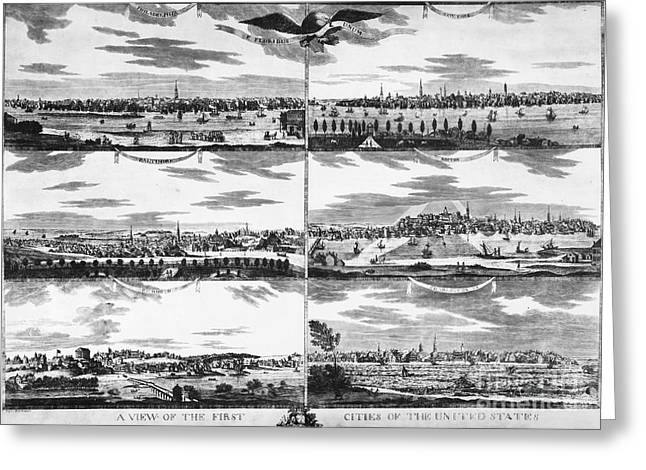 South Philadelphia Greeting Cards - AMERICAN CITIES, c1810 Greeting Card by Granger