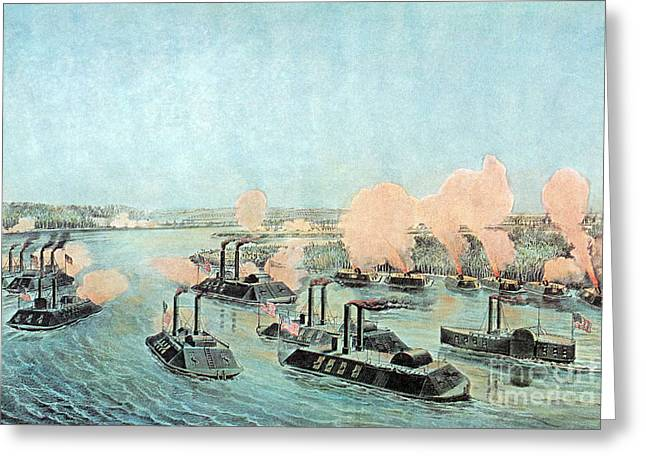 Confederate Flag Greeting Cards - American Civil War, Battle Of Island Greeting Card by Photo Researchers