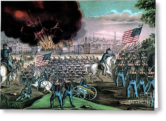 Federal Troops Greeting Cards - American Civil War, Capture Of Atlanta Greeting Card by Photo Researchers