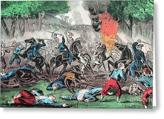Charging Horses Greeting Cards - American Civil War, First Battle Greeting Card by Photo Researchers