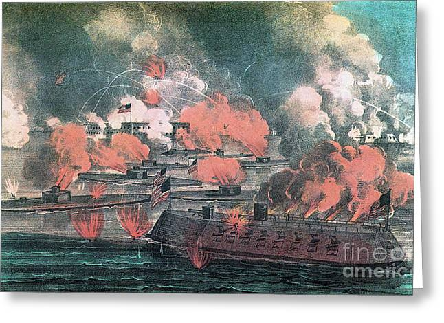 Wells Harbor Greeting Cards - American Civil War, Great Fight Greeting Card by Photo Researchers
