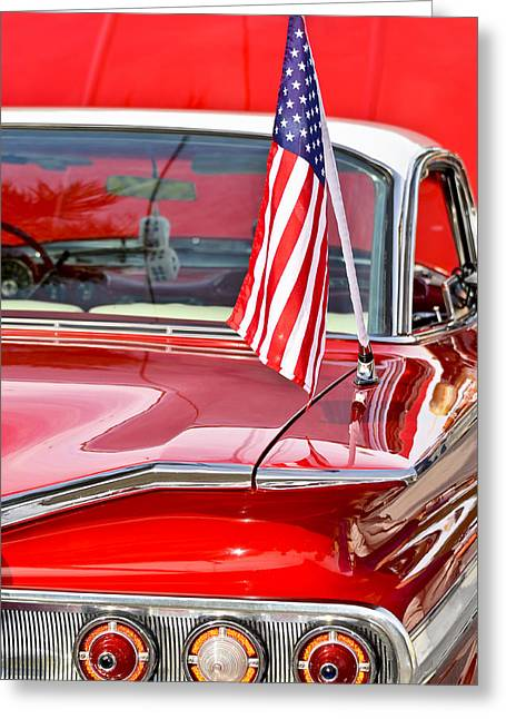 Red Street Rod Greeting Cards - American Classic Impala Greeting Card by Carolyn Marshall