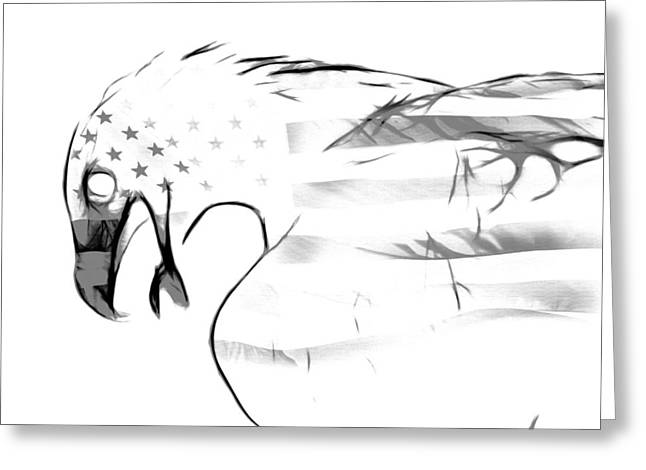 Wildlife Digital Art Greeting Cards - American Eagle BLACK AND WHITE Greeting Card by Melanie Viola