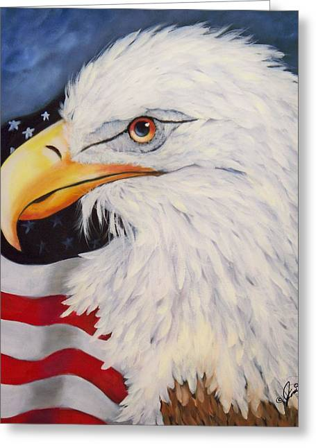 Portrait Greeting Cards - American Eagle Greeting Card by Joni McPherson