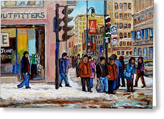 St.catherine Street Greeting Cards - American Eagle Outfitters Greeting Card by Carole Spandau