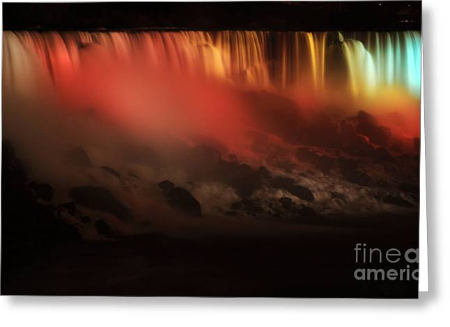Festival Of Light Greeting Cards - American Falls of Niagara at Night Greeting Card by Charline Xia