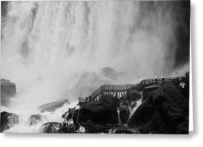 american falls with cave of the winds walkway niagara falls new york state usa Greeting Card by Joe Fox