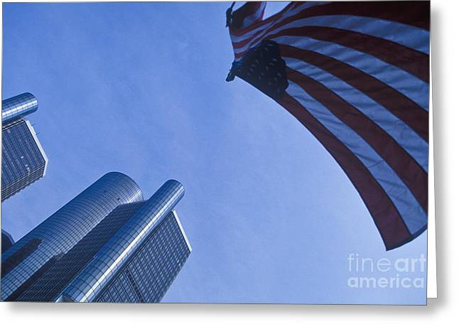 Renaissance Center Greeting Cards - American Flag and Renaissance Center in Detroit, Michigan Greeting Card by Will & Deni McIntyre