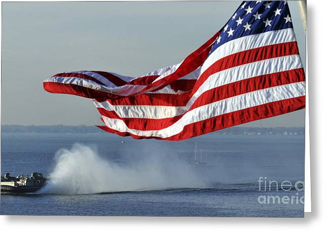 Stripes. Blowing Greeting Cards - American Flag Blowing In The Wind Greeting Card by Stocktrek Images