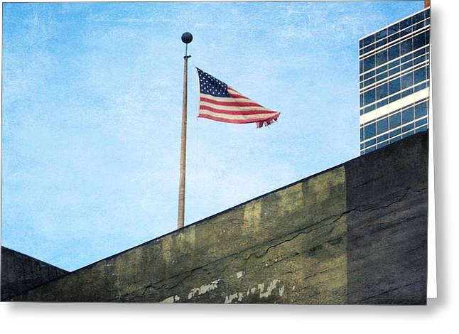 Downtown Portland Greeting Cards - American Flag Greeting Card by Cathie Tyler
