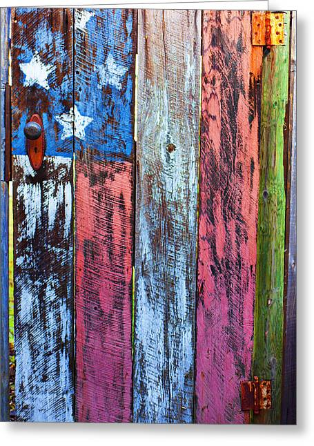 Old Door Greeting Cards - American flag gate Greeting Card by Garry Gay
