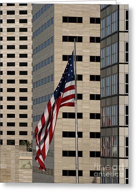 America Photographs Greeting Cards - American Flag in the City Greeting Card by Blink Images
