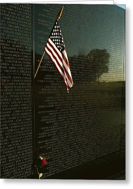 Best Sellers -  - Bravery Greeting Cards - American Flag Left At The Vietnam Greeting Card by Medford Taylor
