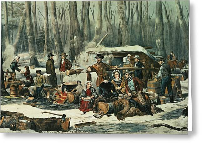Syrup Greeting Cards - American Forest Scene Greeting Card by Currier and Ives