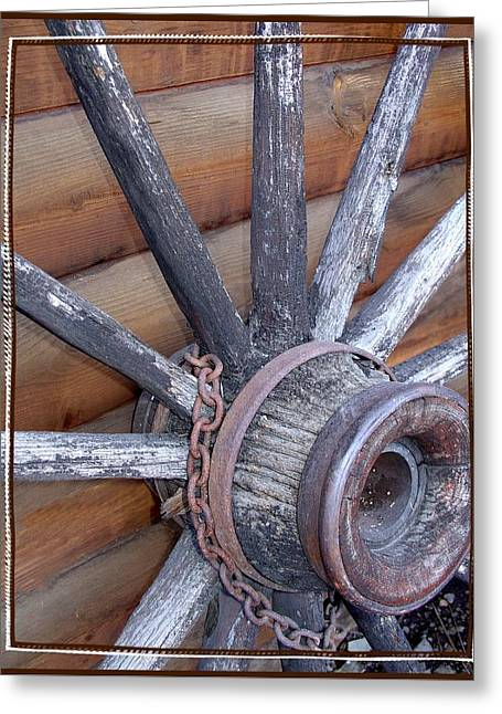 Spokes Greeting Cards - American Frontier Wagon Wheel Greeting Card by Karon Melillo DeVega