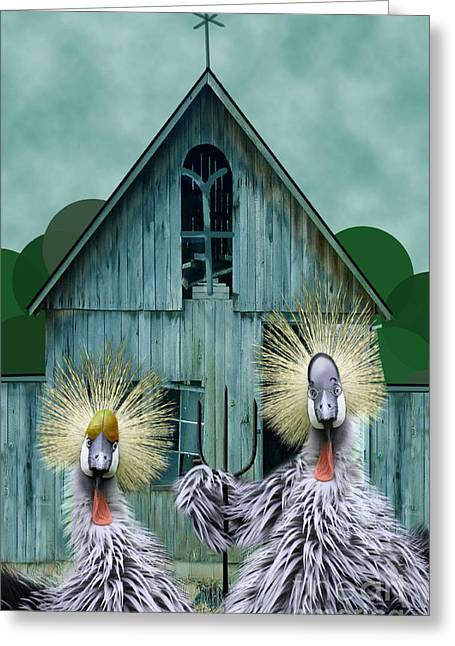 Pitchfork Greeting Cards - American Gothic Revisisted  Greeting Card by Lois Mountz