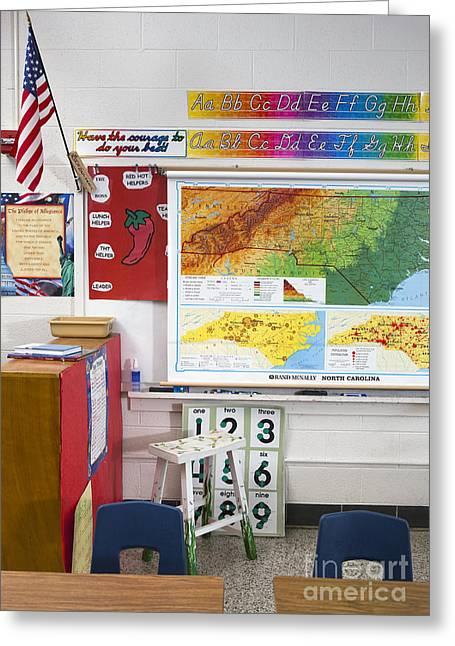 Public Schools Greeting Cards - American Grade School Classroom Greeting Card by Will & Deni McIntyre